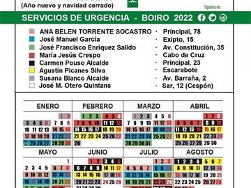 Calendario Farmacias de guardia en Boiro 2021